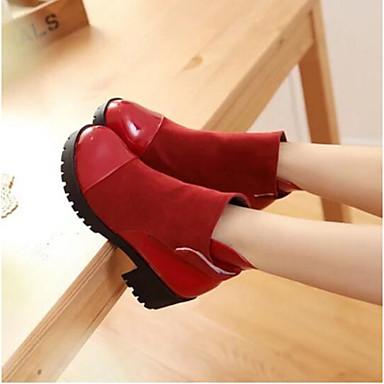 Damen Schuhe PU Winter Komfort Stiefel Für Normal Schwarz Gelb Rot