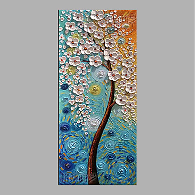 Oil Painting Hand Painted - Floral / Botanical Abstract Canvas
