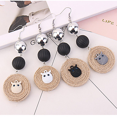 Women's Drop Earrings - Owl Fashion Black / Gray / Light Yellow For Party