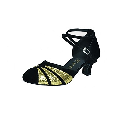 Women's Modern Shoes Synthetic / Glitter Heel Buckle Cuban Heel Dance Shoes Black / Gold / Red / Red / Black / Professional