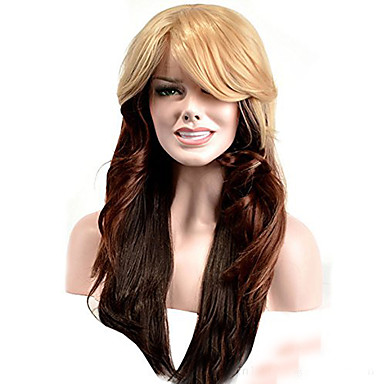 Synthetic Wig Wavy Blonde With Bangs Synthetic Hair Ombre Hair Blonde Wig Women's Long Capless