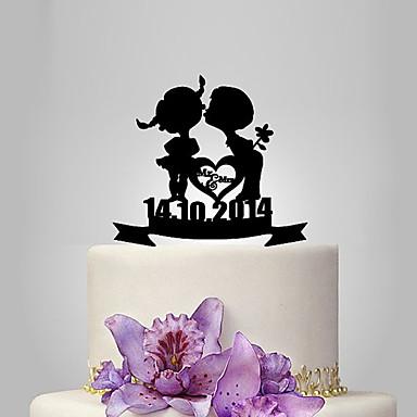 Tortadísz Klasszikus téma / Romantika / Esküvő Klasszikus pár Műanyag Esküvő / Évforduló val vel 1 pcs Poli táska