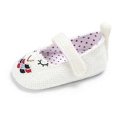 Girls' Shoes Fabric Spring / Fall Comfort / First Walkers / Crib Shoes Flats Magic Tape for White / Khaki / Wedding / Party & Evening / Wedding