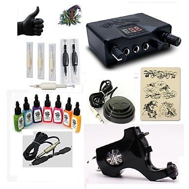BaseKey Tattoo Machine Starter Kit - 1 pcs Tattoo Machines with 7 x 15 ml tattoo inks, Professional LED power supply Case Included 1 rotary machine liner & shader