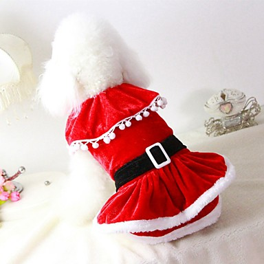Cat Dog Costume Coat Dress Christmas Dog Clothes Solid Colored Red Plush Fabric Cotton/Linen Blend Costume For Pets Party Casual/Daily