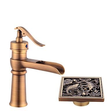 Csaptelep - Széleskörű Antik bronz Három lyukas Egy fogantyú egy lyukkal