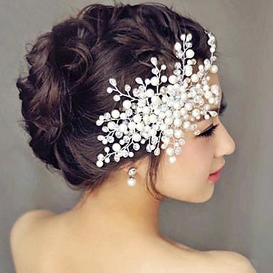 Drágakő és kristály Tüll Gyöngyutánzat Hajfésű Sisak Hair Tool with Kristály Toll 1 Esküvő Különleges alkalom Party Party / estély Sisak