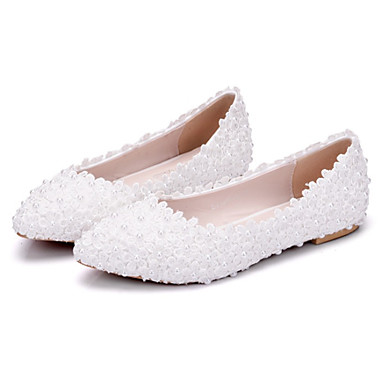 Women's Shoes PU(Polyurethane) Spring / Fall Comfort / Novelty Wedding Shoes Flat Heel Pointed Toe Beading / Appliques White