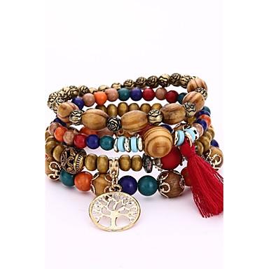 abordables Bracelet-Bracelet à Perles Bracelet Multi Tour Bracelets de mémoire Homme Femme En bois Bois Arbre de la vie Style Simple Hip-Hop Bracelet Bijoux Noir Blanche Rouge Irrégulier pour Cadeau Soirée