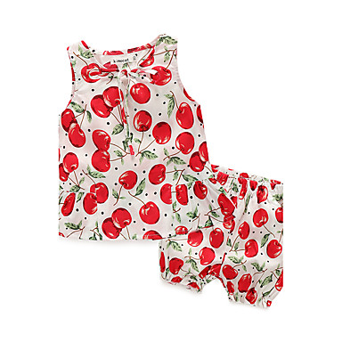 Baby Girls' Casual/Daily Print Clothing Set, 100% Cotton Summer Floral Sleeveless White Navy Blue