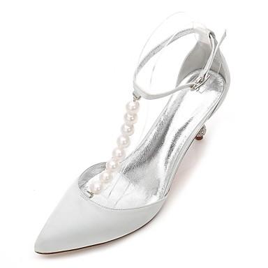 Női Cipő Szatén Tavasz / Nyár T-pántos / Újdonság / D'Orsay és kétrészes Esküvői cipők Cicasarok / Magas / Alacsony Erősített lábujj