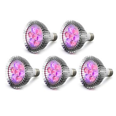 5pcs 450-550lm E27 Voksende lyspære 5 LED perler Høyeffekts-LED Blå Rød 85-265V