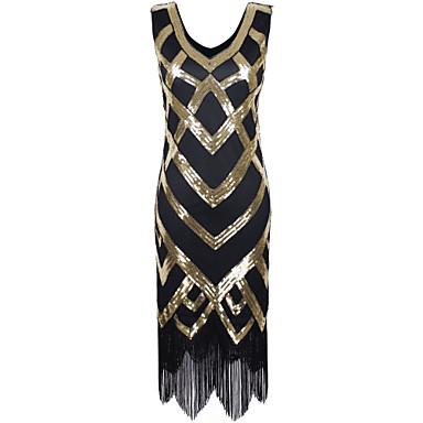 Latin Dance Dresses Women's Performance Polyester Sequined Paillette Tassel Sleeveless High Dress