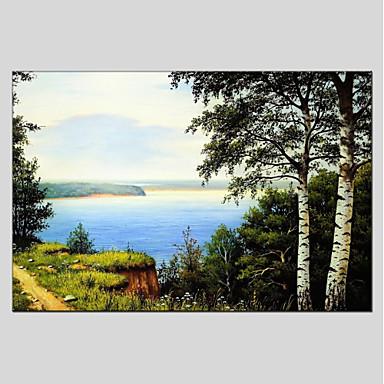 Hang festett olajfestmény Kézzel festett - Landscape Kortárs Tartalmazza belső keret / Nyújtott vászon