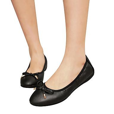 Napa redondo Bailarinas Tacón Plano Pajarita luz 06231293 cerrada Cuero Punta Verano Dedo de PU Suelas con Primavera Zapatos Para Mujer Bailarina qZPw7tZ