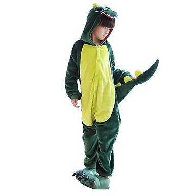 Kid's Kigurumi Pajamas with Slippers Dragon / Dinosaur Onesie Pajamas Costume Flannel Fabric Green / Pink Cosplay For Animal Sleepwear Cartoon Halloween Festival / Holiday / Christmas