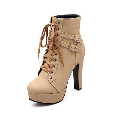 82e9a2d430 Women's Boots Chunky Heel Round Toe Buckle / Lace-up PU(Polyurethane)  Booties / Ankle Boots Comfort / Novelty / Fashion Boots Fall / Winter Black  / Beige / ...