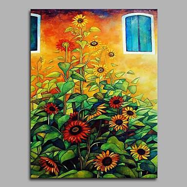 Hang festett olajfestmény Kézzel festett - Virágos / Botanikus Művészi Rusztikus Modern / kortárs Vászon