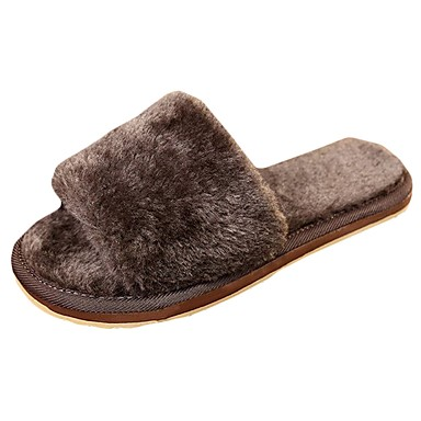 Shoes For Women Fur Flat Heel Comfort Round Toe Slippers Casual Gray
