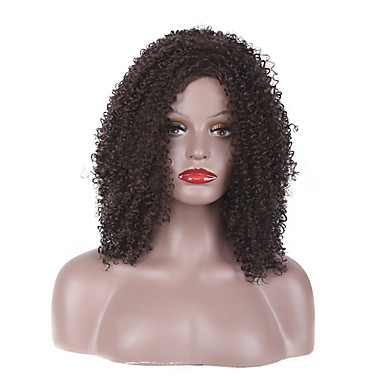 Synthetic Wig Curly / Afro / Jerry Curl Layered Haircut Synthetic Hair Natural Hairline Brown Wig Women's Short / Medium Length Capless