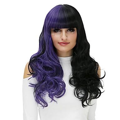 Szintetikus parókák / Jelmez parókák Hullám Szintetikus haj Fekete Paróka Női Hosszú Halloween paróka Sapka nélküli