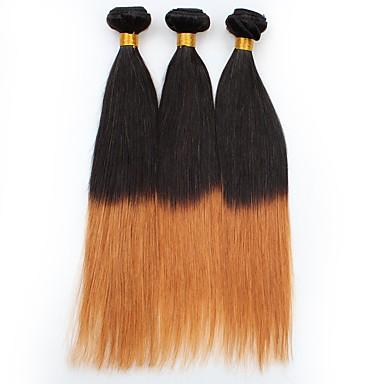 Włosy peruwiańskie Prosto Ombre Ludzkie włosy wyplata Czarny / Średni Auburn / Prosta