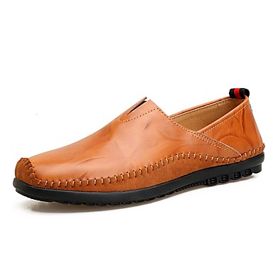 Men's Leatherette Spring / Fall Comfort Loafers & Slip-Ons Black / Light Brown / Dark Brown