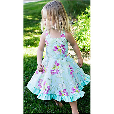 Girl's Birthday Daily Holiday Floral Dress, Cotton Summer Sleeveless Floral Light Blue