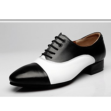 3b64804a046e Men's Modern Shoes Leather Oxford Splicing Chunky Heel Dance Shoes  Black-white / Brown / White