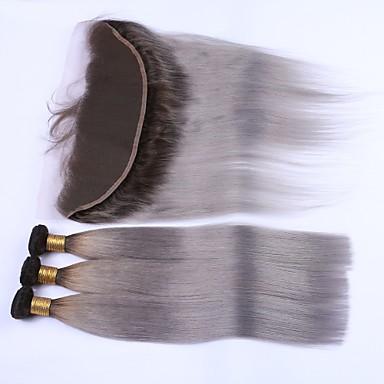 Indiai haj Egyenes Emberi haj Hair Vetülék, zárral Emberi haj sző Human Hair Extensions