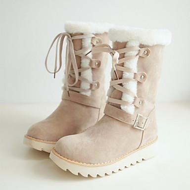 Talon Bottes Chaussures 06258442 mollet de Cuir Nubuck Bout Mi Automne Lacet Plat Bottes Nouveauté pointu Femme Bottes neige Hiver Confort fA0PqnAdw