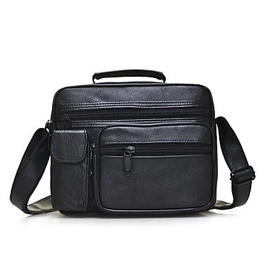Men's Bags Sheepskin Shoulder Bag Zipper Black