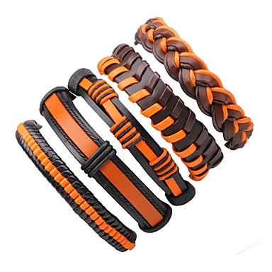 Men's / Women's Wrap Bracelet / Leather Bracelet - Leather Bohemian, Fashion Bracelet Orange For Casual / Going out