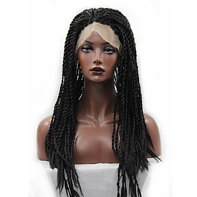 Synthetic Lace Front Wig Curly / Afro Synthetic Hair African American Wig / Braided Wig / Plait Hair Black Wig Women's Long Lace Front