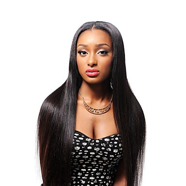 Human Hair 360 Frontal Wig Brazilian Hair Straight 360 Frontal Wig with Baby Hair 130% Hair Density Natural Hairline African American Wig Women's Short Medium Length Long Human Hair Lace Wig