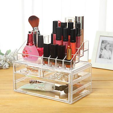 Herramientas de Maquillaje Almacenamiento de Cosméticos Maquillaje El plastico Cuadrado Diario Cosmético Útiles de Aseo