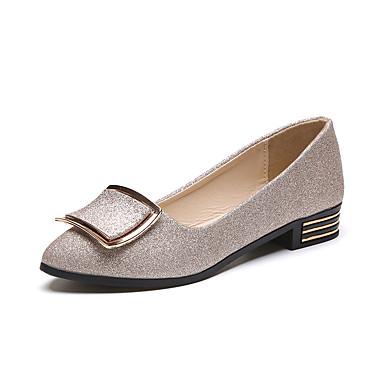 Women's Shoes PU(Polyurethane) Spring / Summer Comfort / Light Soles Heels Flat Heel Round Toe Gold / Black / Silver
