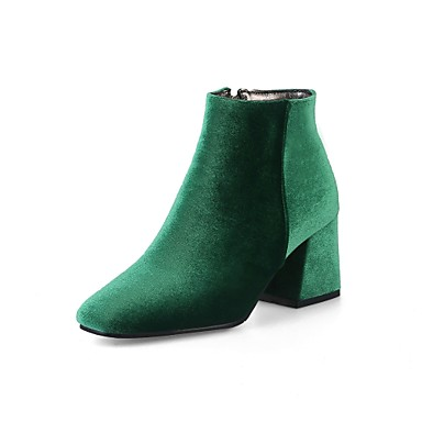 47f4ad1d9d59 Women s Shoes Velvet Spring   Fall Comfort   Fashion Boots Boots Chunky Heel  Square Toe Booties   Ankle Boots Zipper Green   Wine   Almond