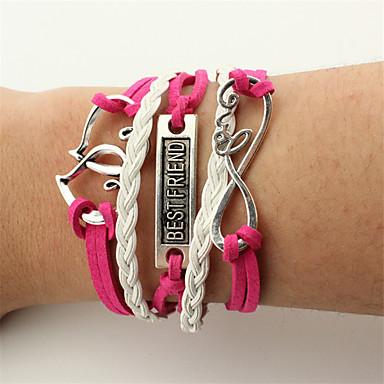 Men's Women's Wrap Bracelet Leather Bracelet - Leather Friends, Heart, Infinity Bracelet Red For Christmas Wedding Party