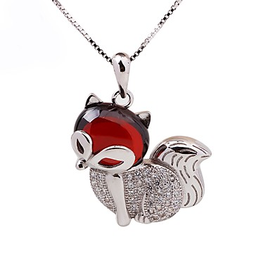 Női Róka Kocka cirkónia Ezüst Strassz Rövid nyakláncok Nyaklánc medálok  -  aranyos stílus Divat Ezüst Nyakláncok Kompatibilitás Ajándék