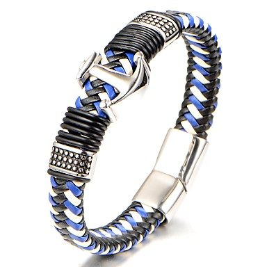 Men's Geometric Bracelet Bangles / Leather Bracelet - Titanium Steel Classic, Fashion Bracelet Blue For Gift / Daily