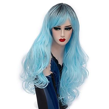 women synthetic wig capless long deep wave light blue ombre hair halloween wig costume wigs Halloween