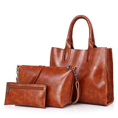 hesapli Çantalar-Kadın's Fermuar Çanta Setleri Çanta Setleri PU YAKUT / Gri / Kahverengi