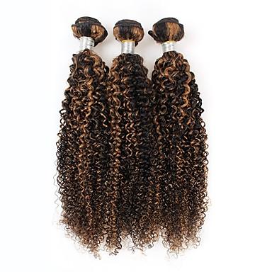 baratos Extensões de Cabelo Natural-3 pacotes Cabelo Peruviano Encaracolado 10A Cabelo Virgem Âmbar 10=22 polegada Tramas de cabelo humano Extensões de cabelo humano