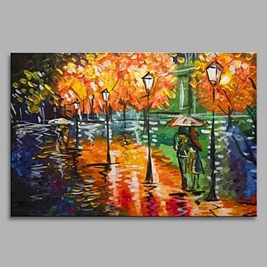 Hang festett olajfestmény Kézzel festett - Landscape Művészi Klasszikus stílus Modern / kortárs Vászon