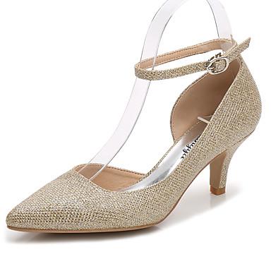 Női Cipő Glitter Tavasz Ősz Boka pántos Magasított talpú Esküvői cipők Magas Erősített lábujj mert Esküvő Party és Estélyi Arany Ezüst