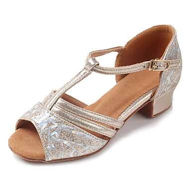 Latin Shoes Sparkling Glitter / Leatherette Sandal / Heel Buckle Chunky Heel Customizable Dance Shoes Gold / Practice