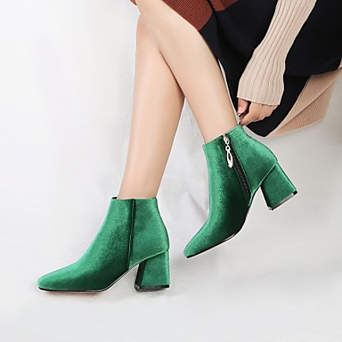 povoljno Ženske čizme-Žene Čizme Velvet čizme Kockasta potpetica Trg Toe Patent-zatvarač Baršun Čizme gležnjače / do gležnja Udobne cipele / Modne čizme Proljeće / Jesen Zelen / Lila-roza / Badem / Vjenčanje / EU42
