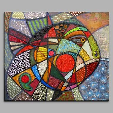 Hang festett olajfestmény Kézzel festett - Állatok Művészi Modern / kortárs Vászon