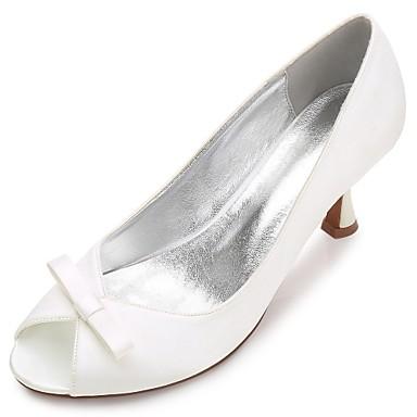 Women's Shoes Satin Spring / Summer Comfort / Basic Pump Wedding Shoes Kitten Heel / Cone Heel / Low Heel Peep Toe Bowknot / Appliques /